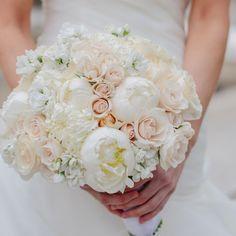 White and Blush Pink Bridal Bouquet // Mary Wyar Photography //  Bridal Bouquet: Petit Fleur Events // http://www.theknot.com/weddings/album/an-elegant-ballroom-wedding-in-detroit-mi-140051