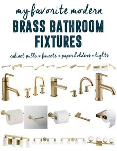Brass Hardware in the bathroom brass bathroom fixtures brass lights brass faucet. Brass Hardware in the bathroom brass bathroom fixtures brass lights brass faucets brass cabinet pul Brass Bathroom Fixtures, Bathroom Hardware, Brass Hardware, Bathroom Lighting, Brass Handles, Bathroom Cabinets, Bathroom Vanities, Gold Bathroom Faucet, Bathroom Showers