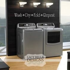 Wash Dry Fold Repeat wall art decal vinyl lettering laundry room decor