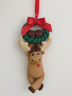 Polymer Clay Moose Christmas Ornament by HeartOfClayGirl on Etsy, $16.95