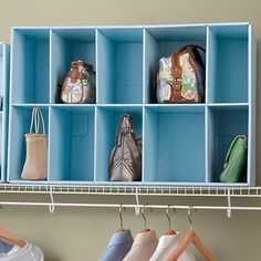 Improvements Park-A-Purse™ Closet Purse Organizer-Blue ($35) ❤ liked on Polyvore featuring home, home improvement, storage & organization, 440615, closet handbag organizer, closet purse organizer, handbag storage, handbag storage rack, purse organizer and purse storage