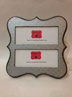 double barber cosmetology license frame gray silver glitter dots print fits 2 8 12 x 3 58 business certifications