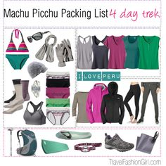 Machu Picchu Packing List l 4 day hike - awesome blog with tons of cool lists!