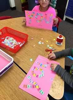 "Our students love decorating sight words! Here's a work station for putting small copies of the word ""you"" onto a large outline of the word. Get a free sample of 6 words here! Great fine motor to use small pieces of crunched up paper Kindergarten Language Arts, Kindergarten Centers, Teaching Kindergarten, Teaching Reading, Guided Reading, Close Reading, Teaching Resources, Kindergarten Classroom Setup, Reading Lessons"
