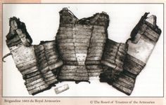 A brigandine is a form armour from the Middle Ages. It is a cloth garment, canvas or leather, lined with small osteel plates riveted to the fabric. The form is essentially the same as the civilian doublet, though it is commonly sleeveless. Depictions with sleeves are known. Many brigandines appear to have had larger, somewhat 'L-shaped' plates over the lungs. The rivets, or nails, attaching the plates to the fabric are often decorated, being gilt or of latten and often embossed with a…