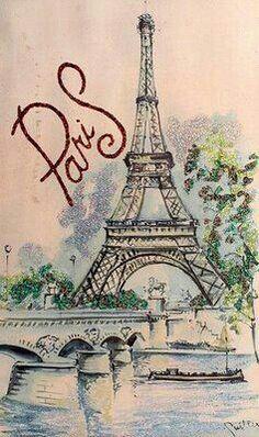 paris dibujo vintage - Buscar con Google