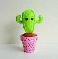 100% Acrylic Felt Darling Cactus in a Pot Pin Cushion
