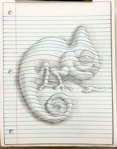 Notebook page tutorial. Idea scuola: si crea una forma su foglio bianco (animale o oggetto), si ritaglia e si incolla su foglio a righe, poi si prolungano le righe curvandole per dare il volume. Si completa con le ombre a lapis morbido.