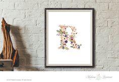 Printable Floral Monogram Art Nursery Art Initial by thepariswife