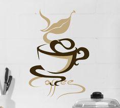 Coffee Mug Wall Decal - Coffee Cup Vinyl Decal - Coffee Shop Decor - Kitchen Decal - Coffee Art - Wall Decal Words - Java - Coffee Gift Coffee Talk, I Love Coffee, My Coffee, Coffee Shop, Coffee Cups, Coffee Break, Coffee Wall Art, Coffee Mug Drawing, Decoupage