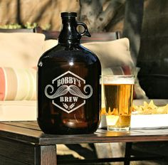 Beer Growler  Custom Etched 1GAL Jug for Beer by ScissorMill, $38.50