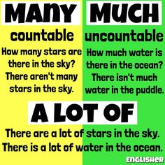 Many vs Much vs A lot of