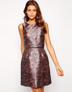 Little Mistress Cropped Mini Dress in Metallic Jacquard
