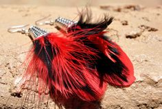 Hey, I found this really awesome Etsy listing at https://www.etsy.com/listing/193813328/black-and-red-feather-earrings-burlesque
