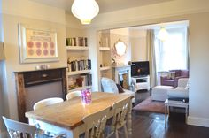 Victorian Semi Living Room Tour – Bang on Style Terrace – Home Decoration Open Plan Kitchen Living Room, Open Plan Living, Home Living Room, Living Room Designs, Dining Room, Living Room Knock Through, Lounge Diner Ideas, Victorian Living Room, Victorian House