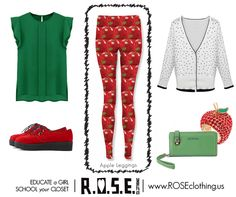 "$70.00 Apple Leggings 11 days left to pre-order these super cute leggings! I'm in LOVE with this outfit! Polka-dot sweater looks like the inner apple with seeds! OMG so cute together! This is crowd funded fashion with a limited time to meet goal. If we don't reach the per-order goal in the time allowed, we'll loose existing orders, nothing gets manufactured, & we don't get to donate a portion of proceeds to ""She's the First"" for girls education worldwide…"