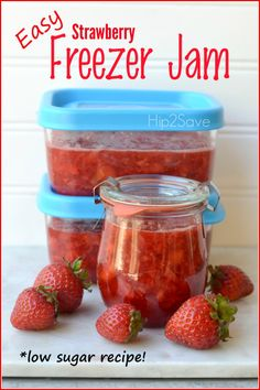Freezer Jam Recipes, Freezer Cooking, Canning Recipes, Freezer Meals, Cooking Time, Low Sugar Recipes, No Sugar Foods, Strawberry Recipes, Fruit Recipes