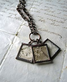 vintage framed lace necklace