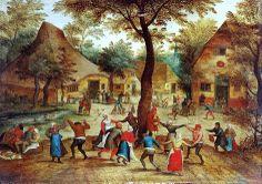 .:.  Pieter Bruegel the Elder (Flemish artist, 1525-1569) Village Scene with Dance around the May Pole