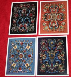Rosemaling Note Cards by Vi Thode on Etsy, $10.00