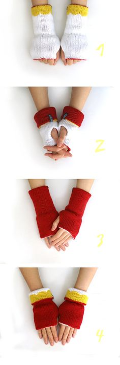 Reversible Fingerless Gloves, Hand Knitted Mittens, Women's Autumn Winter Accessories, Red Yellow White