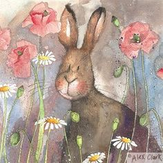 'Hare and Poppies' by Alex Clark (E001)