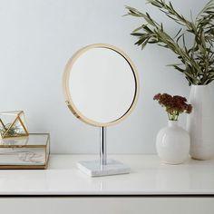 Marble Base Vanity Mirror - Brass, $99