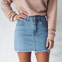 long sleeve + jean skirt + light color