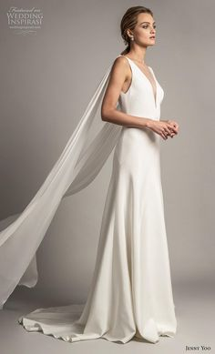 ce034d9249e3 jenny yoo spring 2019 bridal long hanging sleeves deep v neck simple  minimalist elegant clean look