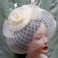 IVORY CREAM Fascinator Cocktail Hat Headband Fancy Veil Formal Church Bridal Tea #SomethingSpecial