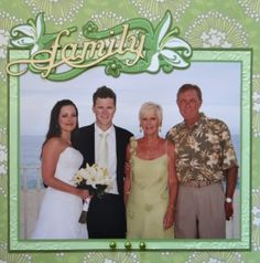 Groom's family page with floral spray from Tinkerbell cartridge in Wedding Album 2