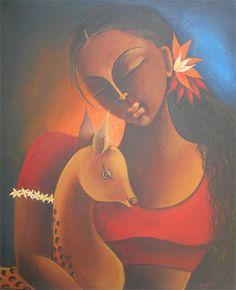 Shakuntala - Painting, 29x23 in ©2006 by Manisha Raju - Painting