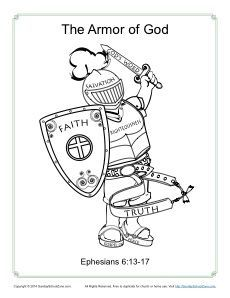 Armor of God Coloring Page for Kids. Use at the END of this children church book!