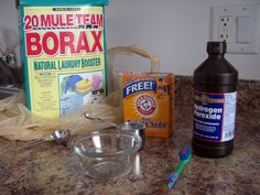 Remove stains from vintage fabrics- 1 Tbsp borax, 5-6 pumps liquid dish soap, 1/4 cup baking soda, peroxide to make a paste, water- apply with toothbrush. Let sit for one hour. Rinse and soak in warm water for 45 min. Then wash with laundry soap in washing machine.