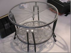 Bicycle parts into side table