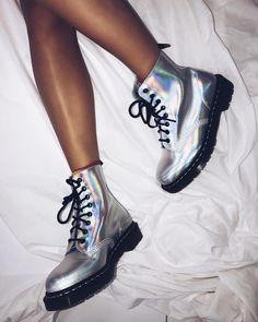 Dr. Martens, Red Doc Martens, Dr Martens Outfit, Doc Martens Boots, Unique Shoes, Cute Shoes, Me Too Shoes, Adidas Shoes Nmd, Metallic Boots