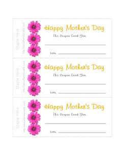Print out Mother's Day coupons and even a matching envelope.