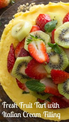 Fresh Fruit Tart with Italian Cream Filling, an easy delicious pie recipe, a graham cracker crust, creamy filling and heaps of fresh fruit. My family loved it!