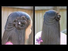 Peinado de Ligas con Flor Trenzada | Peinados para Niñas | Peinados Cabello Largo - YouTube