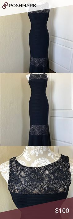 "Navy Blue Floral Maxi Dress Navy Blue Floral sleeveless Maxi Dress. Great dress fit this coming winter events. Size 4, length is 56"". Dry cleaning only.  Dress has a liner made of silk. London Times Dresses Maxi"