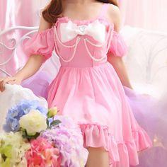 "Sweet bowknot condole belt chiffon dress SE9878      Coupon code ""cutekawaii"" for 10% off"