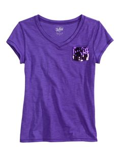 Girls Clothing | Short Sleeve | Solid V-neck Tee With Sequin Pocket | Shop Justice