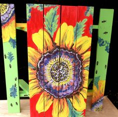 sunflower picnic table #painted #furniture