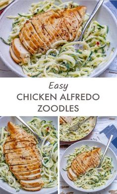 Easy Chicken Alfredo with Zoodles (Clean Eating & Anti-Inflammatory Recipe!) - Clean Food Crush Easy Chicken Alfredo with Zoodles (Clean Eating & Anti-Inflammatory Recipe! Healthy Dinner Recipes For Weight Loss, Easy Dinner Recipes, Healthy Snacks, Easy Meals, Healthy Eating, Dinner Ideas, Healthy Drinks, Diabetic Dinner Recipes, Organic Dinner Recipes