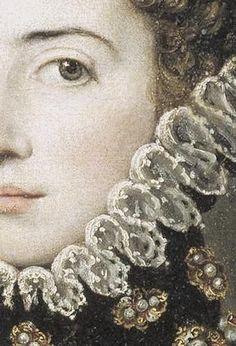 16th century. Detail from Catalana Micaela de Austria, Duchess of Savoy. Alonso Sánchez Coello. c. 1585. (Art Details Archive/tumblr)