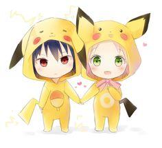 Chibi pikachu Sasuke and Sakura