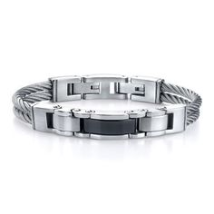 Men's Stainless Steel Cable-style Strap with Black link Centerpiece Bracelet