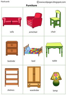 Esl Pages: Furniture Learning English For Kids, Teaching English Grammar, English Worksheets For Kids, English Lessons For Kids, Kids English, English Activities, English Vocabulary Words, Preschool Learning Activities, Learn English Words