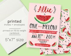 Watermelon Birthday Invitation - PRINTED INVITES - One in a Melon First Birthday Party Invite Summer fruit watercolor watermelon party seeds
