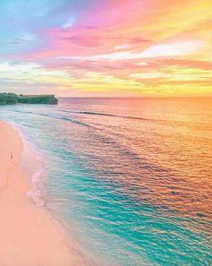 Beach ocean sea sunset rainbow colorful